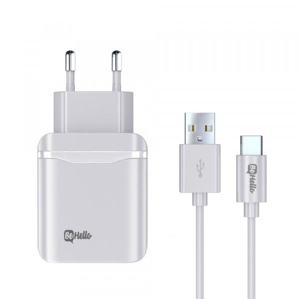 BeHello Travel Quick Charge 3.0 Oplader USB Plus met USB-C Kabel Wit