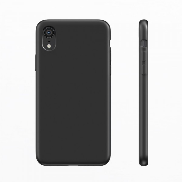 BeHello Premium Liquid Silicon Case Zwart voor iPhone Xr