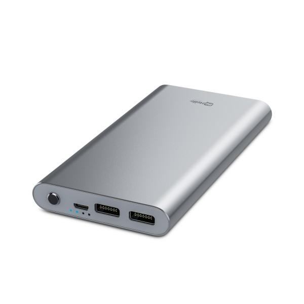 BeHello Powerbank Ultradun 8000 mAh 2 USB Poorten Aluminium Zilver 2.4A