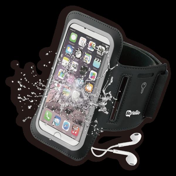 BeHello Universele Sportarmband Maat XL (voor o.a. iPhone SE iPhone 8 iPhone 7 iPhone 6) - Zwart