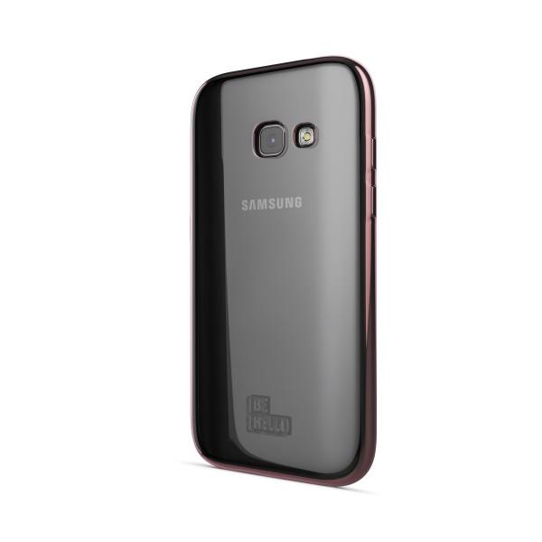 BeHello Samsung Galaxy A3 (2017) Gel Case Transparent Chrome Edge Pink