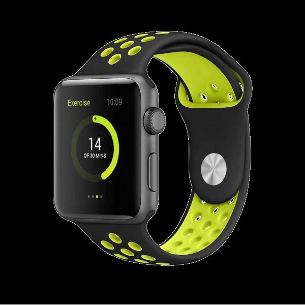 BeHello Premium Siliconen Band 42/44mm voor Apple Watch Zwart/Geel