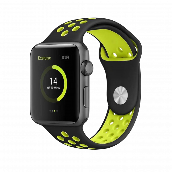 BeHello Premium Siliconen Band 38/40mm voor Apple Watch Zwart/Geel