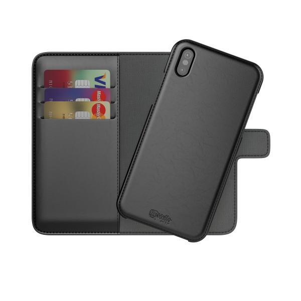 BeHello iPhone X XS Hoesje Hoesje I 2-in-1 Wallet Case met Ruimte Voor 3 Pasjes Zwart