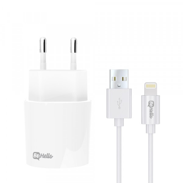 BeHello Travel Charger USB Plus Lightning Cable 2.1 Ampère Wit