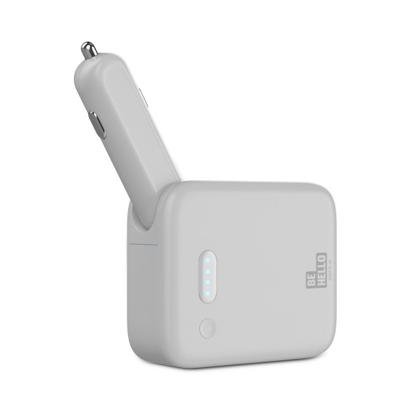 BeHello 2-in-1 Powerbank Autolader 3000 mAh Wit