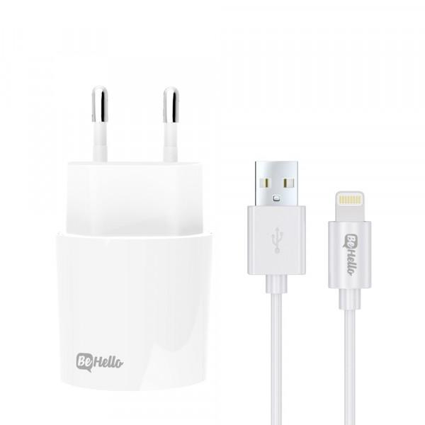 BeHello Travel Charger USB Plus Lightning Cable 2.1 Ampère Wit
