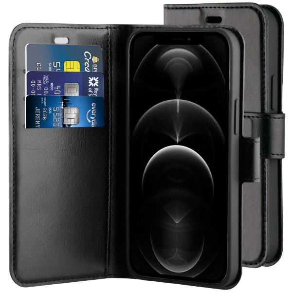 BeHello iPhone 12 / 12 Pro Gel Wallet Case Zwart - Portemonneehoesje