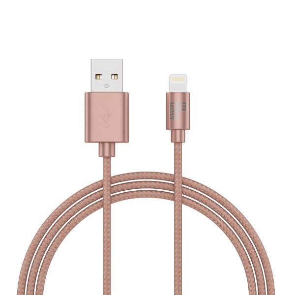 BeHello Oplaadkabel Apple iPhone Lightning naar USB-A (1m) Gevlochten Roze