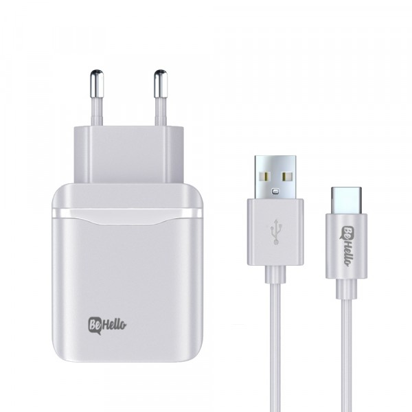 BeHello Travel Quick Charge 3.0 Oplader USB Plus met USB-C Kabel Wit