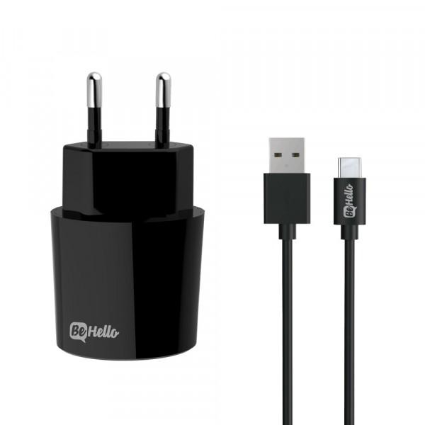 BeHello Travel Oplader USB Plus met USB-C Kabel 2.1 Ampère Zwart
