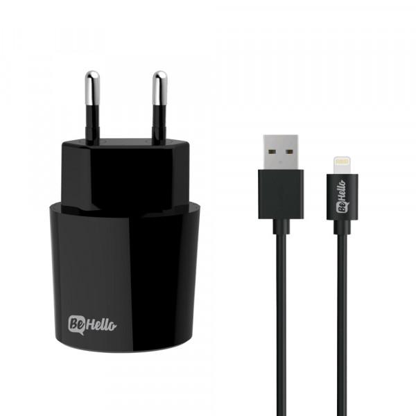 BeHello Oplader met Apple iPhone Lightning Oplaadkabel 2.1 Ampère - Zwart