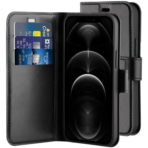 BeHello iPhone 12 Pro Max Gel Wallet Case Zwart - Portemonneehoesje