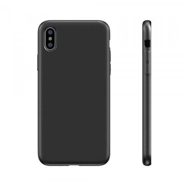BeHello Premium Liquid Silicon Case Zwart voor iPhone Xs X