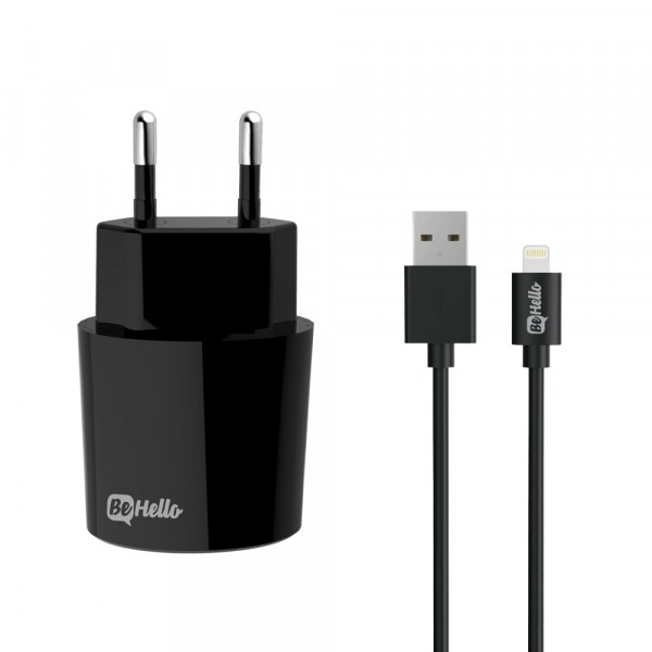 BeHello Travel Oplader USB Plus met Lightning Kabel 2.1 Ampère Zwart