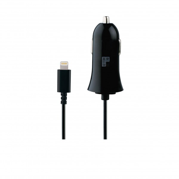 BeHello Car Charger with Cable Lightning (1.2m) 2.1A Black