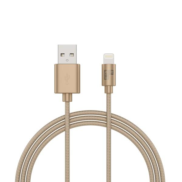BeHello Oplaadkabel Apple iPhone Lightning naar USB-A (1m) Gevlochten Nylon Goud