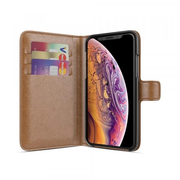 BeHello iPhone X XS Hoesje - Wallet Case Met Ruimte Voor 3 Pasjes Bruin